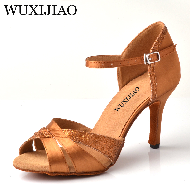 WUXIJIAO Latin Dance Shoes Salsa Women's Bronze Satin Unique Tailor Design Satin Shoes For Ballroom Dancing  Tango Shoes