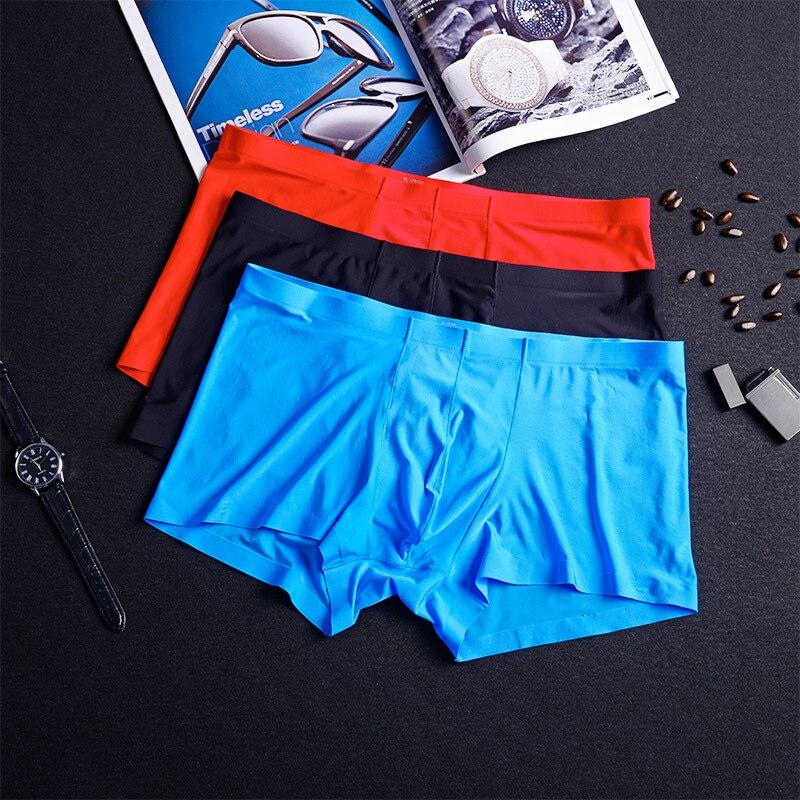 Underwear Men Boxer Shorts Mens Ice Silk Seamless Summer Slim Design Soft Sexy Kilot Male Men's Underpants Cueca Boxer Homme