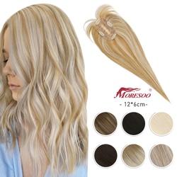 Moresoo Hair Topper Human Hair Hair Pieces 12*6cm 8-16inches Straight Hair Machine Remy Hair Clips for Women Toupee