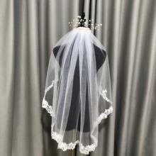 Одного слоя 80 см свадебная фата Короткие верхний край декорирован