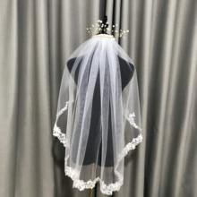 Veil-Accessory Short Wedding-Veils Bridal Veil Fingertip Lace-Edge One-Layers White/ivory