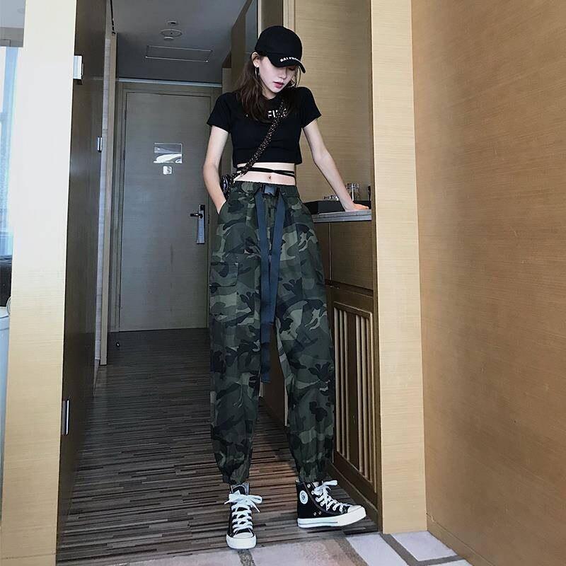 Women Mid Waist Camouflage   Pants   Fashion   Capri   Trouser Ankle-Length Sweatpants Streetwear Camo Pocket Belted   Pants   Funny Women