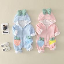 2020 jesień noworodka dziewczynek Romper ubrania dla dzieci stroje dla niemowląt chłopców pajacyki kombinezony dla dziecięca odzież wierzchnia kombinezon dla niemowląt tanie tanio msnynieco Poliester COTTON Stałe Z kapturem zipper Unisex Pełna M0775 Pasuje prawda na wymiar weź swój normalny rozmiar
