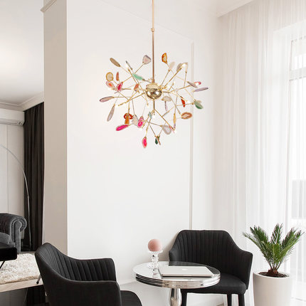 French country natural agate leaves chandelier round hanging light creative globe colored chandelier lighting for foyer kitchen