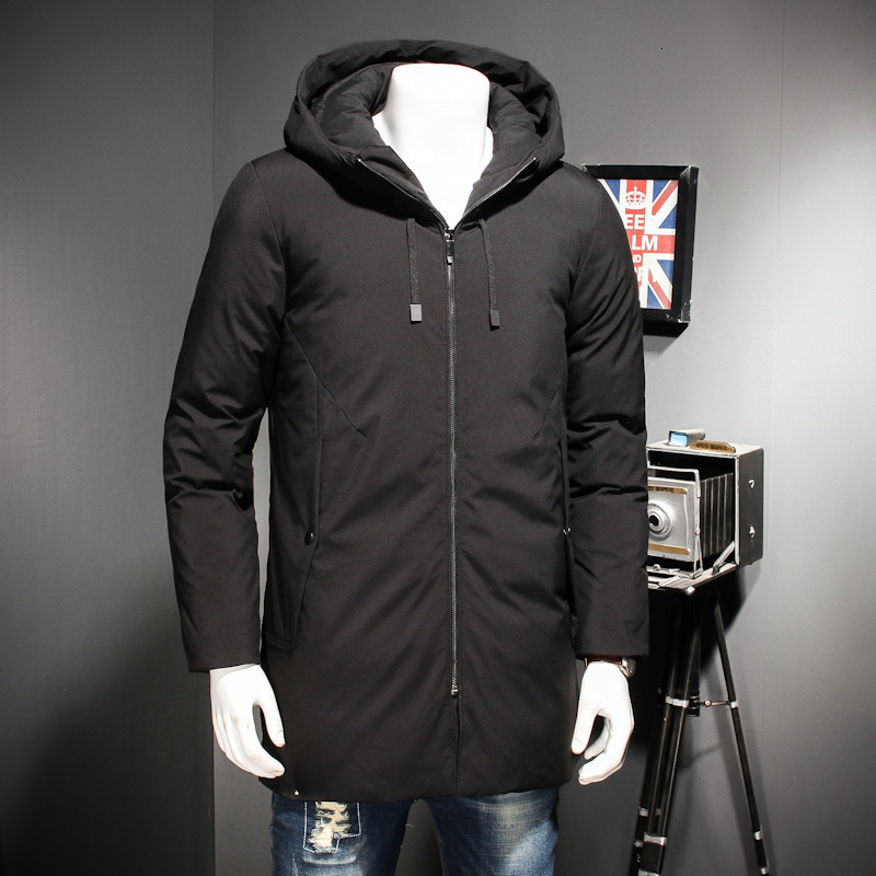 Big Size 8xl Winter Duck Down Jackets For Men Fashion Casual Mens Thickening Hooded Black Coat Long Section Down Men's Jacket