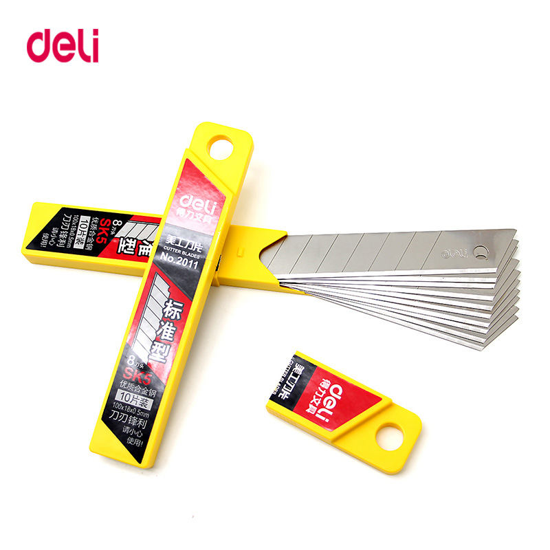 Deli 10pcs/box Utility Knife Cutter SK5 Blades Replacement High-carbon Steel Blade 18mm Office School Outdoor Supplies
