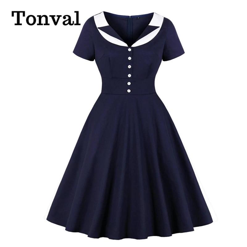 Tonval Navy Blue Contrast Collar Button Rockabilly Robe Swing Dress Women High Waist Elegant Ladies Dresses Vintage Clothes Dresses Aliexpress