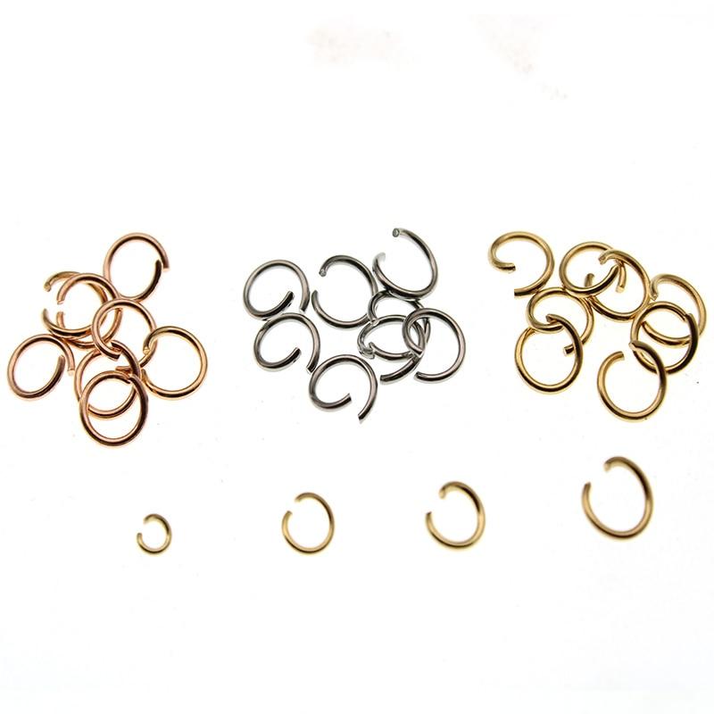 100 шт., кольца из нержавеющей стали розового золота, кольца с разрезом, открытые кольца и кольца для самостоятельного изготовления ювелирных...