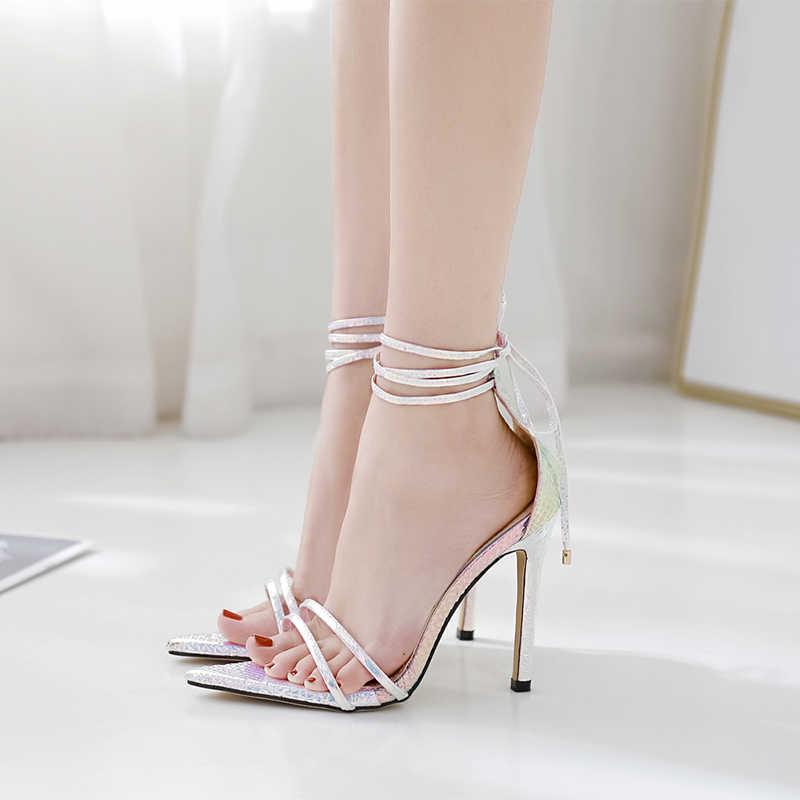 MCCKLE 2020 Sommer Plattform Sandalen Frauen Damen Schuhe Thin High Heels Bling Mode Damen Neue Partei Sandalen Plus Größe 35 -43