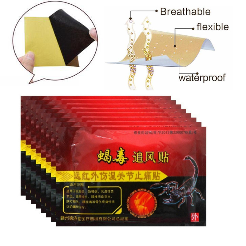 80pcs/10 Bags Knee Joint Pain Relieving Patch  Scorpion Venom Extract  For Body   Pain Relief