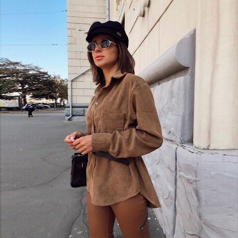 Women Casual Vintage Long Sleeve Corduroy Shirt Ladies Turn Dwn Collar Solid Pockets Office Work Loose Blouse 2019 Winter Tops