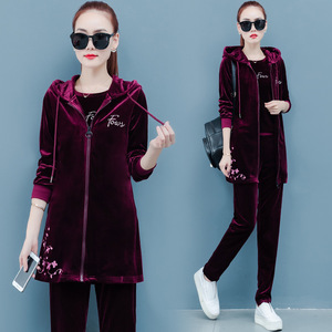 Spring Clothes Three Piece Set Hoodie Jacket T-shirt and Pants Velour Tracksuit Women Sets Leisure 3 Pieces Velvet Women Outfits