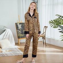 Autumn woman pajamas set Homewear Leopard satin kawaii  plus size Sleepwear sexy pajama