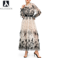 AELESEEN Summer Chiffon Dress 2020 Runway Fashion New Long Lantern Sleeve Lace Patchwork Flower Print Long Holiday Elegant Dress