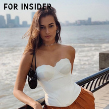 For Insider Strapless PU leather white sexy top Women party club slim basic tube top Female autumn winter tunic bustier top cami fringe cami tube top