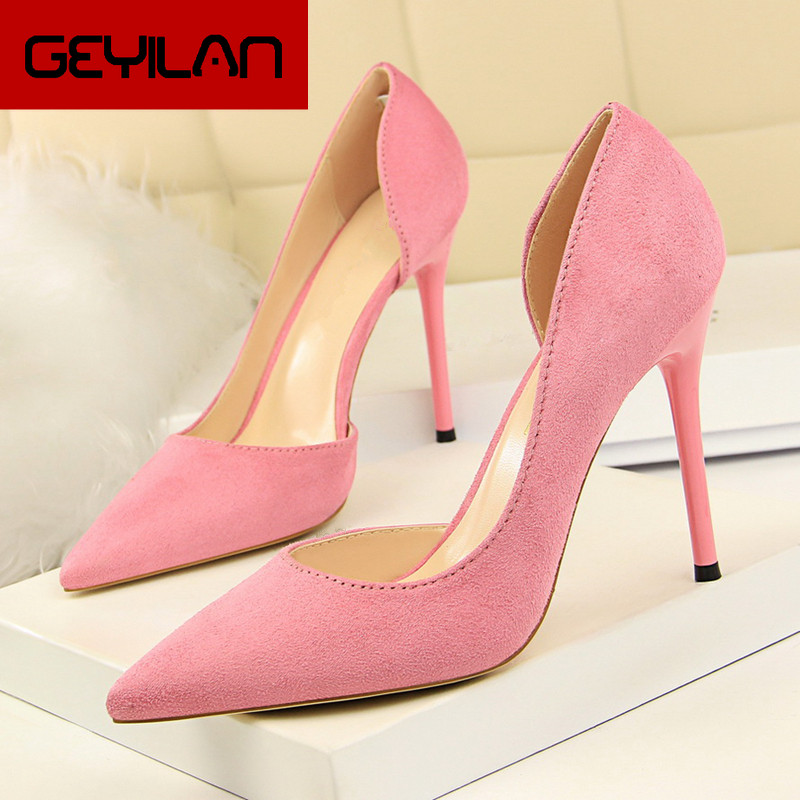 Fashion Sweet Women 10cm High Heels Pumps Female Sexy Pointed Toe Black Red Stiletto High Heels Lady Pink Green Shoes DS A0295