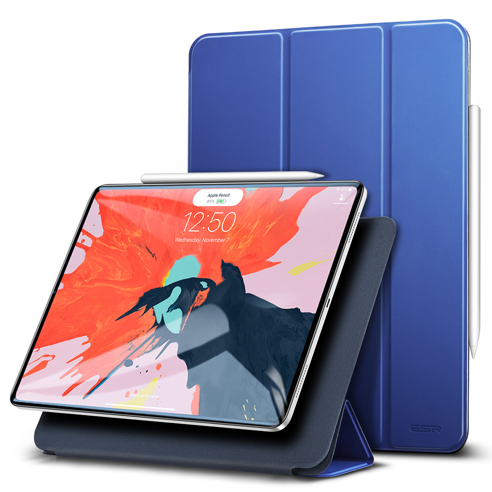 Blue ESR Magnetic Smart Cover with Trifold Stand and Rubberized Cover for iPad Pro 11 2018 A2013, A1934, A1979, A1980