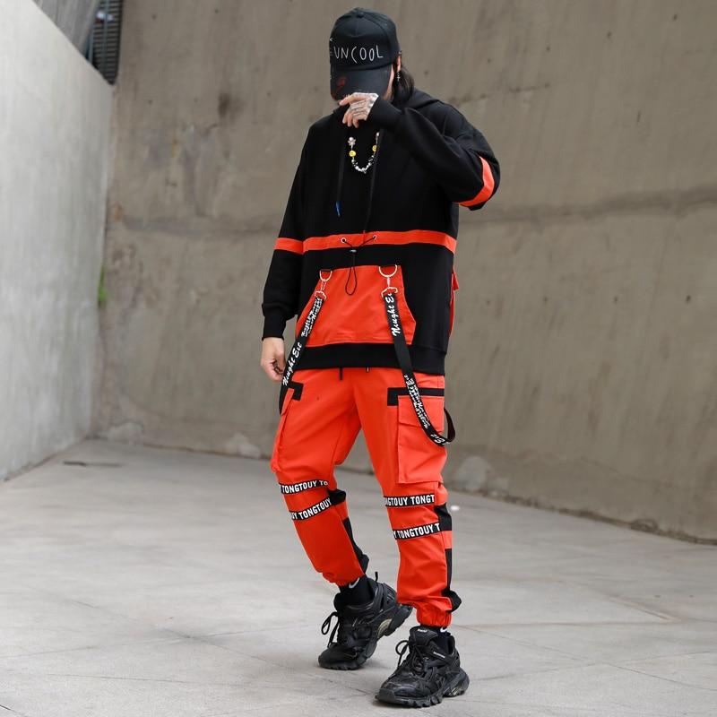 2020 Men Streetwear Tracksuit Harajuku Hip Hop Loose Hoodies Sweatshirts Men T Shirts And Pants 2 Pcs Men Sets ABZ670