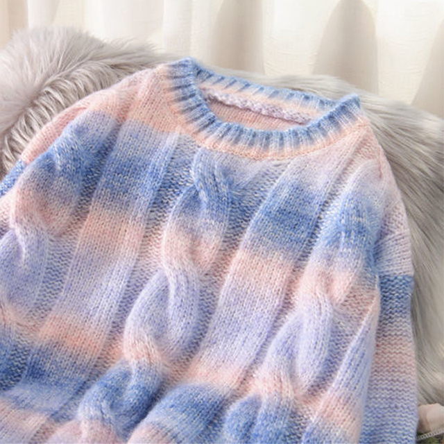 Autumn Winter Women Rainbow Sweaters Tie Dye Pullover O-Neck Long Loose Striped Korean Jumpers Candy Color Oversized Female Tops 4