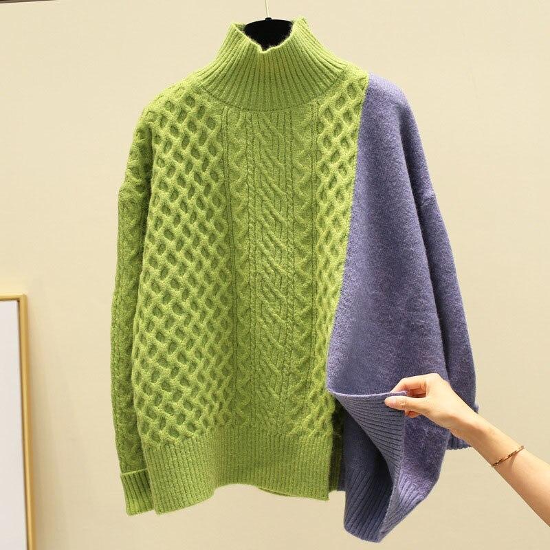 Women's Contrast Patchwork Half Turtleneck Sweater Women's Winter Korean Loose Turtleneck Student Knit Sweaters Pullovers ML209