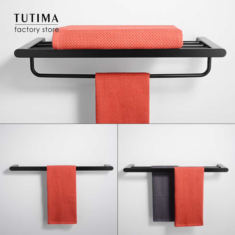 Tutima Matte Black Double Towel bar 304 Stainless Steel Towel Bar Wall Mount Bathroom Towel Rack Hardware Accessory