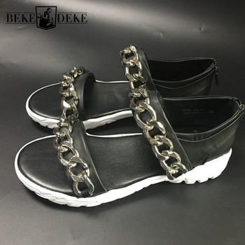 Fashion Beach Sandals Men Rome Style Chains Cowhide Real Leather Sandals Summer Street Zip Gladiator Shoes Sandalias Oversize