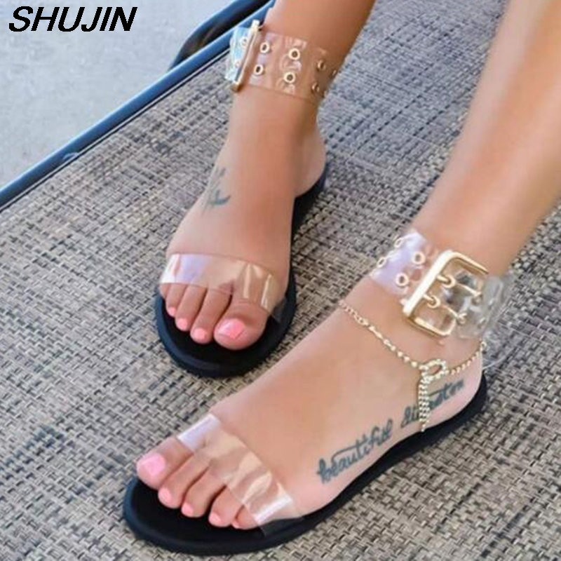 2019 Sandals Women Transparent Flats Shoes Large Size Female Clear  Shoes Ladies Roman Beach Sandalias Zapatos De Mujer