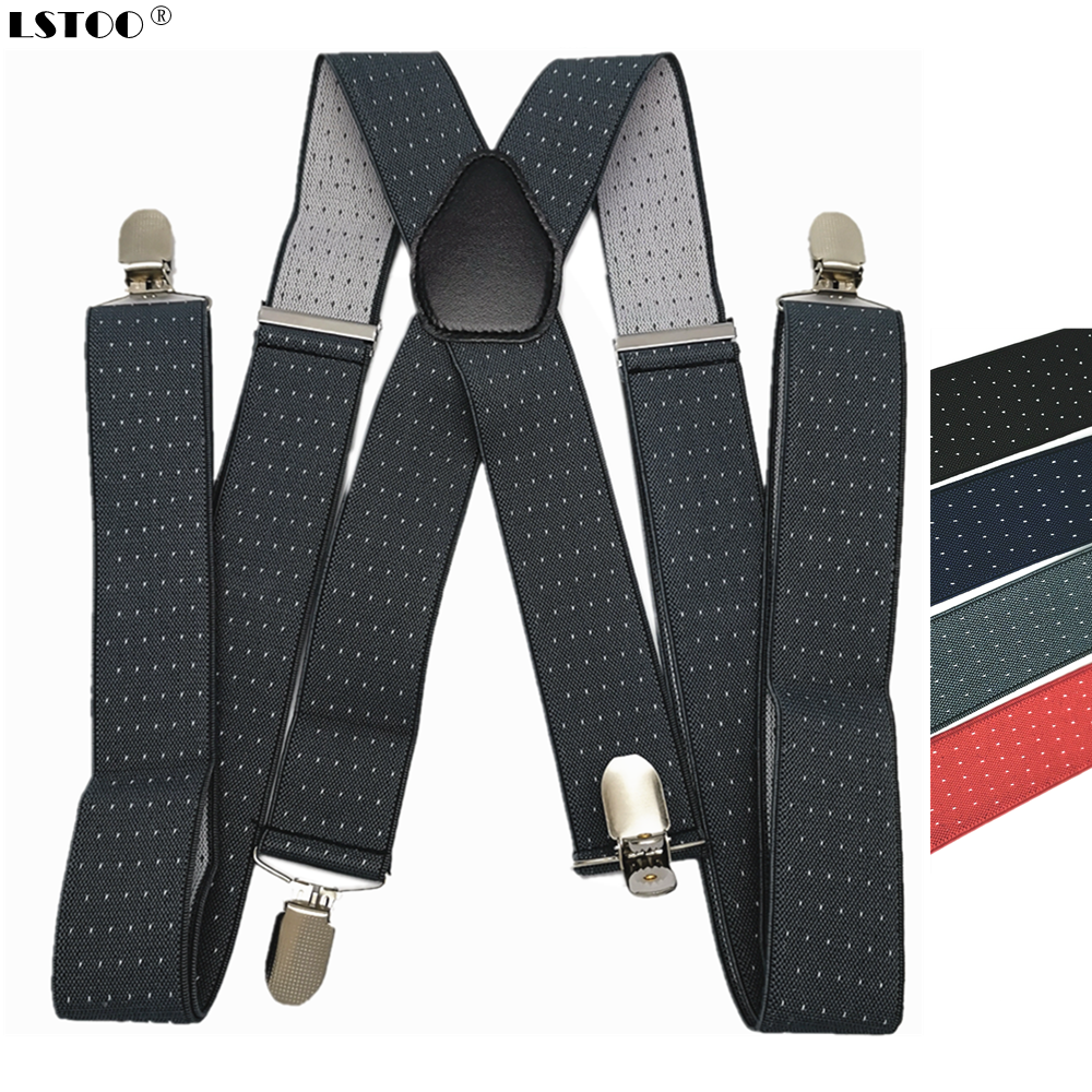 Leather Cross 4 Clips On Men's Suspenders Elastic Adjustable Dots Strap Braces For Adult Women Men Clothes Accessories Best Gift