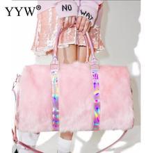 Pink Travel Duffel Bags Women Soft Flush Weekend Bag Big Large Capacity Packing Cubes Luggage Girl Shoulders Handbag bolso