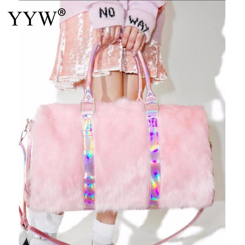 Rose voyage polochon sacs femmes doux affleurant week-end sac grande grande capacité emballage Cubes bagages fille épaules sac sac à main bolso