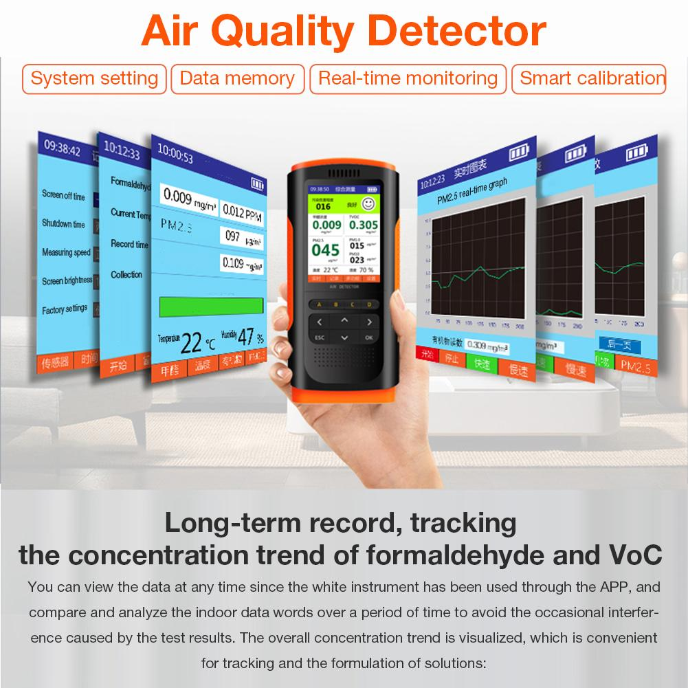 Tools : Air Quality Monitor Portable Display Formaldehyde Detector Air Pollution Meter Micro Dust HCHO TVOC PM2 5 PM10 Tester 5V 1A