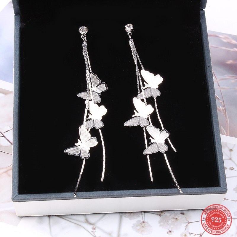 Doreen Box 925 Sterling Silver Needle Long Sweet Temperament Drop Earring Butterfly Tassel Earring New Fashion Jewelry For Women