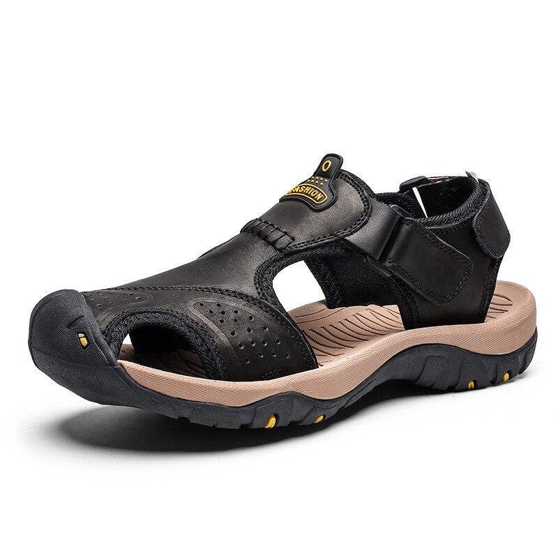 Sandalias De Hombre De alta calidad Sandalias De Cuero genuino zapatos casuales De verano Sandalias romanas De playa para hombres Sandalias De Hombre De Cuero