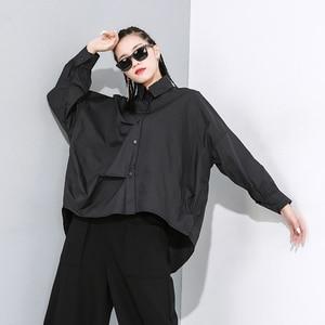 Image 3 - [EAM] Women White Asymmetrical Split Big Size Blouse New Lapel Long Sleeve Loose Fit Shirt Fashion Tide Spring Autumn 2020 1N189