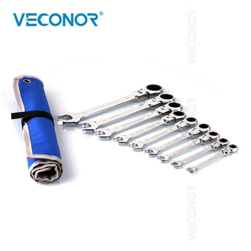 9PCS elastse peaga mutrivõtme mutrivõtme komplekt kombinatsioonvõtmega mutrivõtme komplekt 8-22mm koos tasuta hoiukotiga
