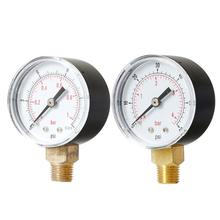 Bar Air Pressure Gauge 1/4BSPT Thread Compressor Hydraulic Fluid Water 71*51*27mm