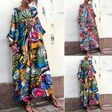 Bikini Cover Up Beach Tunic Wear Sarongs For Women Women's Dress Ebya 2020 Summer New Ink Flower Print Bohemia 7 Long Sleeve