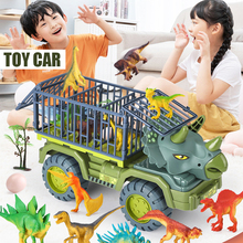 Kids Truck Toy Set Dinosaur Transport Car Carrier Truck Friction Powered Cars Birthday Xmas Gift For Boys Grils Voiture Машинки