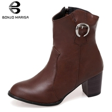 BONJOMARISA Plus Size 34-48 New Fashion Hot Sale 2019 Ankle Boots Woman Shoes Chunky Heels Add Fur Female