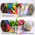 5yards/lot ( 4.5meters ) 100% Polyester Colors Double Single Face Satin Grosgrain Rainbow Ribbons for Wedding Party Decoration