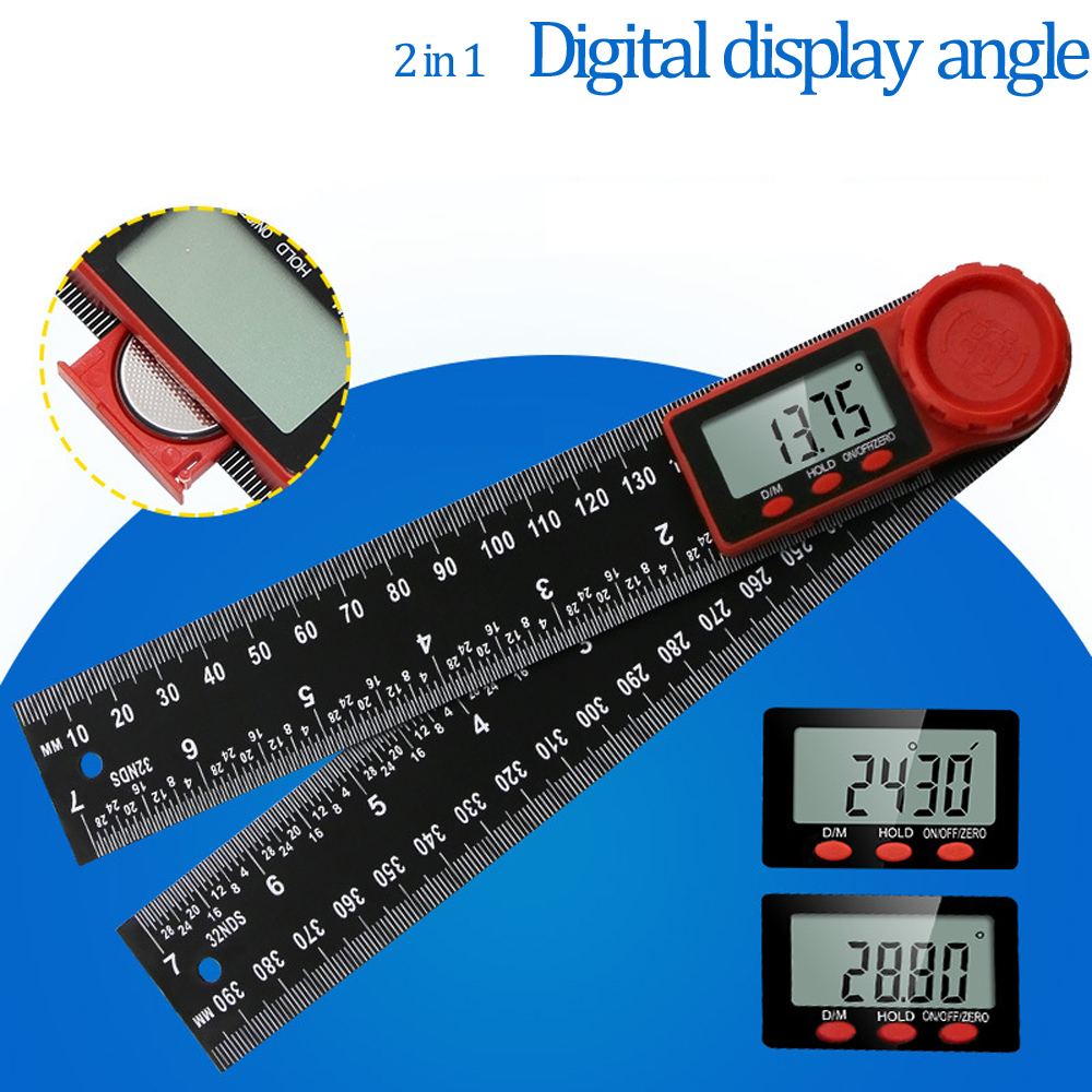 0-200mm 8'' Digital Meter Angle Inclinometer Angle Digital Ruler Electron Goniometer Protractor Angle Finder Measuring Tools