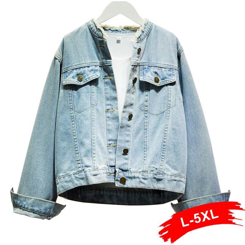 Plus Size Fringe Tassel Stand Collar Bomber Jeans Jacket 4Xl 5Xl Spring Women Short Denim Coat Streetwear Outwear Basic Chi Tops