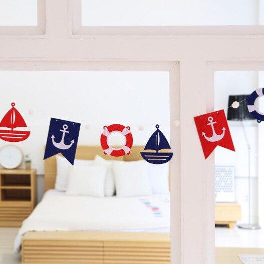 ><font><b>Nautical</b></font> Banner Mediterranean <font><b>Anchors</b></font> Steering Wheels Sailboat Pennant Garland for Home Garden Baby Shower Birthday Party Decor