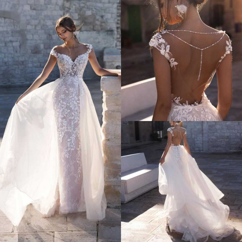 2020 Lace Wedding Dresses Capped Sleeves Appliques Beach Bridal Gowns Backless Sweep Train Mermaid Wedding Dress