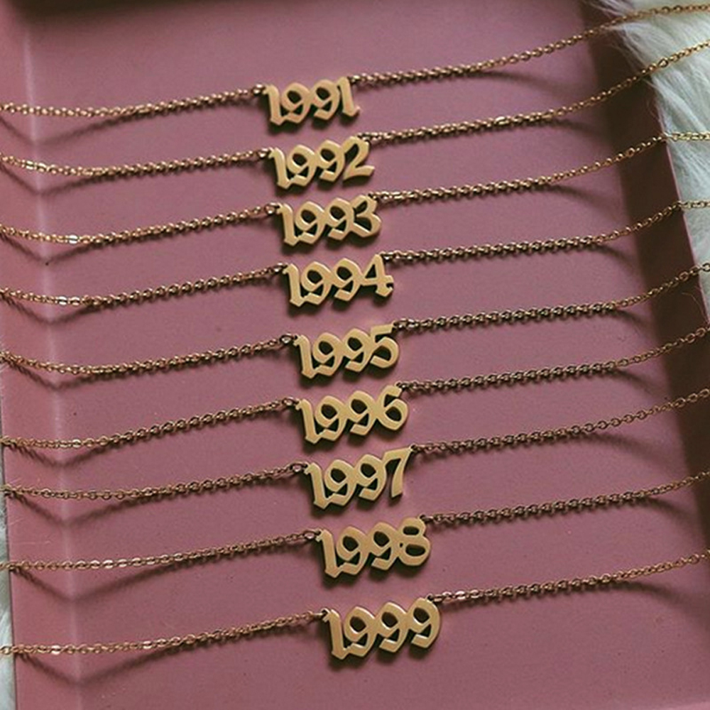 1980 do 2019 numer data urodzenia naszyjnik spersonalizowane biżuteria na zamówienie 1993 1994 1995 1996 1997 1998 1999 2000 Collier Femme bff