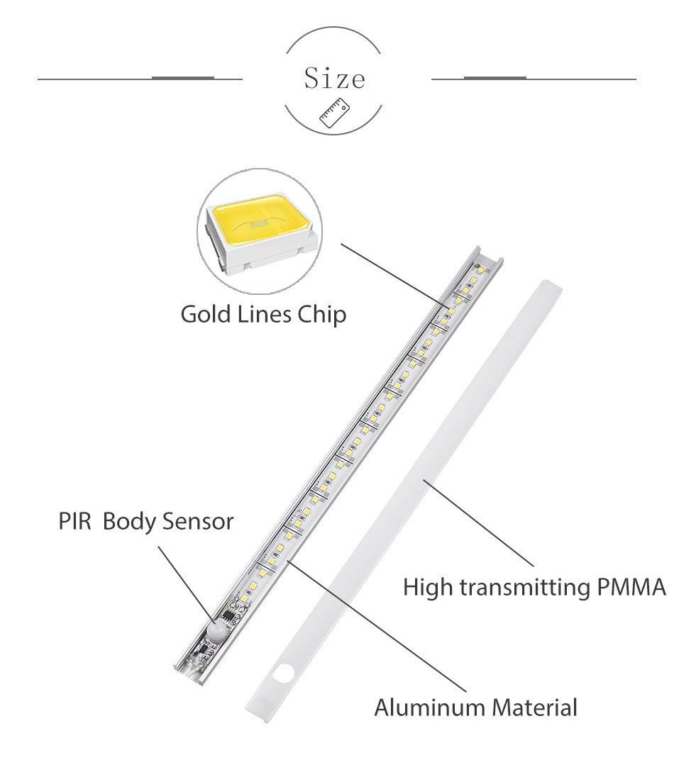 PIR 12V DC Aluminnum LED Under Cabinet Lights BodyLight Sensor Light Kitchen Wardrobe Night Lighting Cabinet Lamps (8)