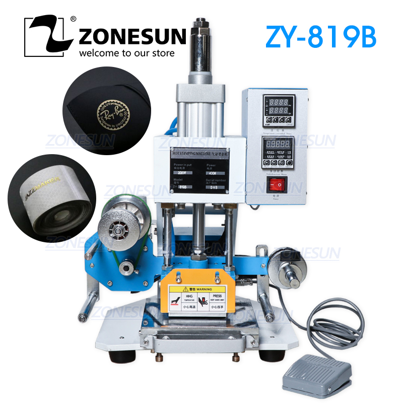 ZONESUN ZY-819B Machine d'estampage pneumatique, imprimante de LOGO en cuir, machine de mots de pression, machine d'estampage de carte nominative (220 V/50Hz)