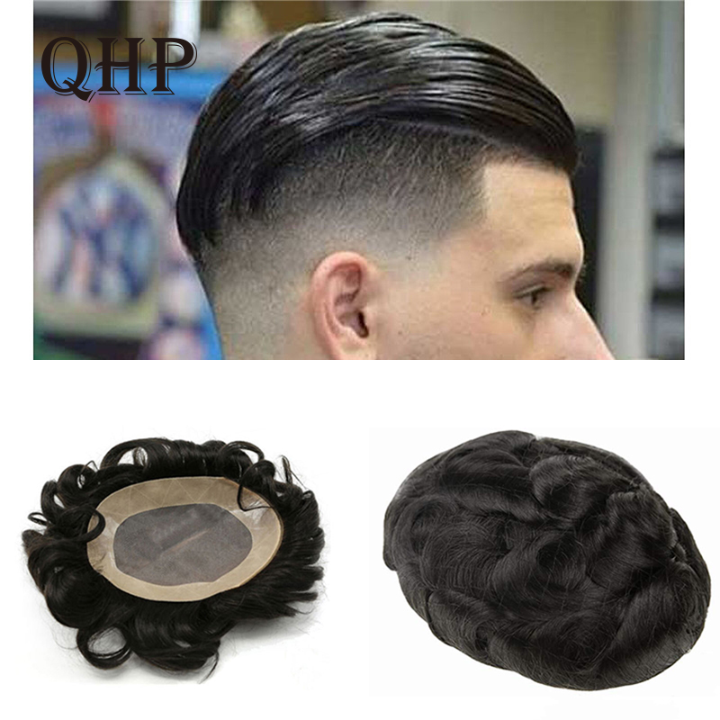 Human Remy Hair Toupee For Men Mono Lace& NPU Hairpiece Natural Looking Remy Hair Mens Wig Replacements Toupee