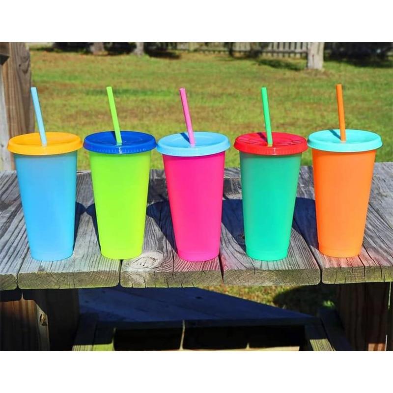 5pcs เปลี่ยนสี Reusable Cold CUP 24oz Tumblers Reusable เปลี่ยนขวด Straw Drinkware พลาสติกขวดเครื่องดื่ม