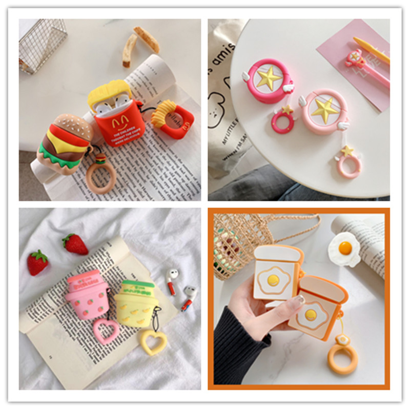 3D Silicone Earphone Case For Apple AirPods Silicone Charging Headphones Wireless Bluetooth Earphone Cases For Airpods 2 Cover